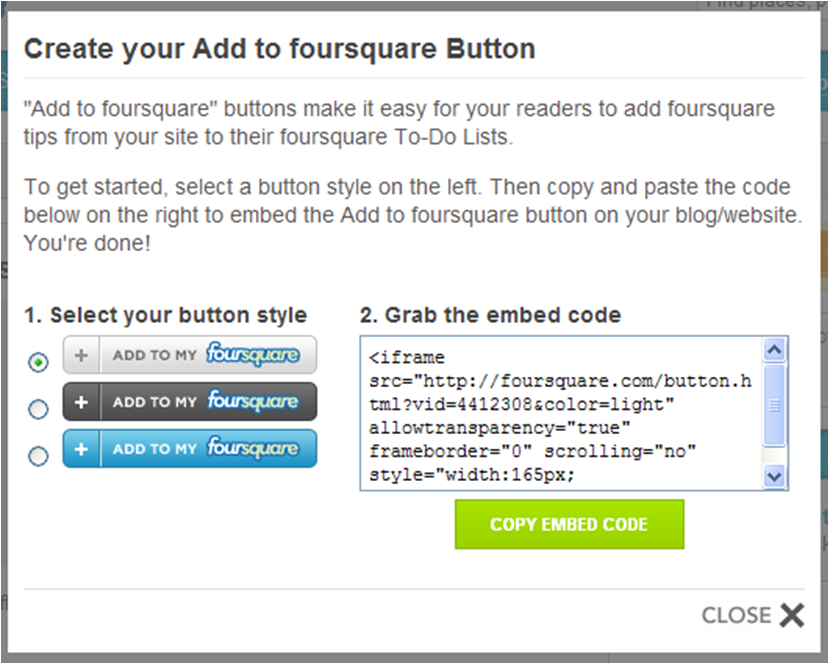 Create Foursquare button