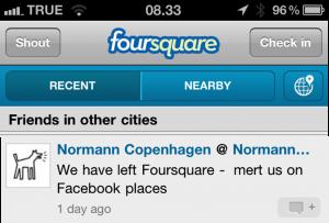 Normann Copenhagen forlader Foursquare