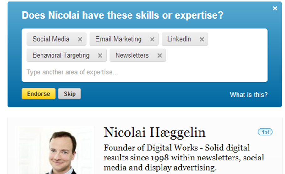 Anbefal skills på LinkedIn profil