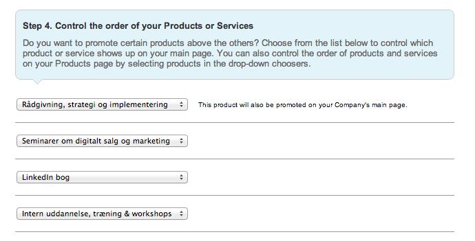 Bestem rækkefølgen af produkter på LinkedIn company page
