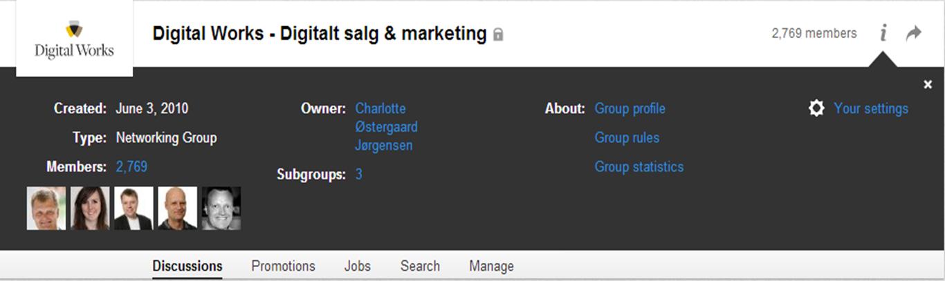 LinkedIn gruppe - infopanel