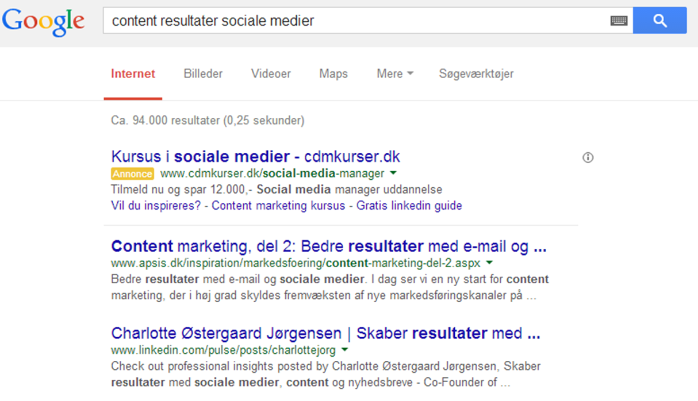 Google resultat Charlotte LinkedIn