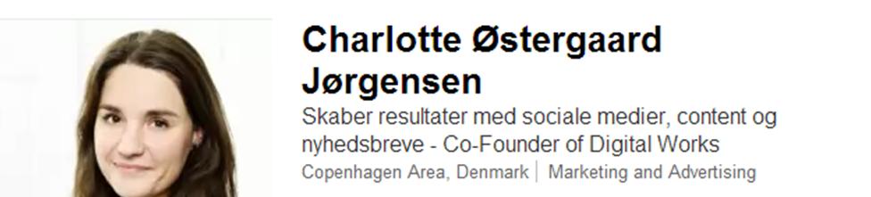 LinkedIn profil headline Charlotte
