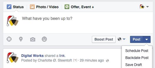 Planlæg indhold på Facebook