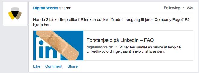 LinkedIn update desktop