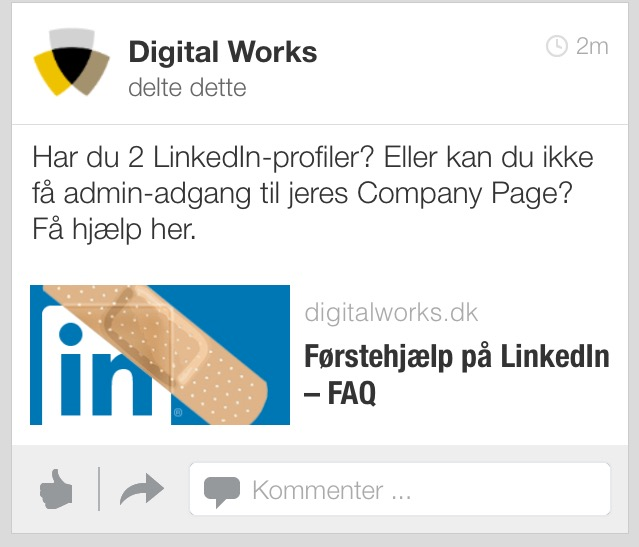 LinkedIn update mobile