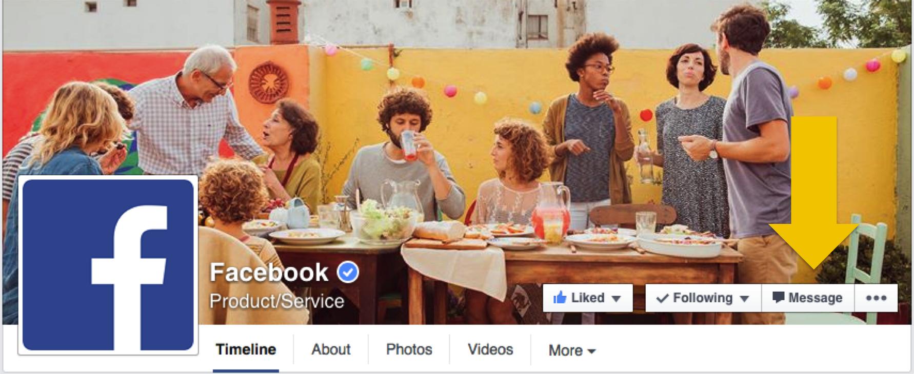 Besked funktion på Facebook pages