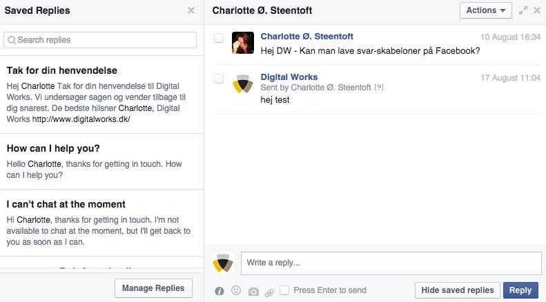 Facebook gemte svar