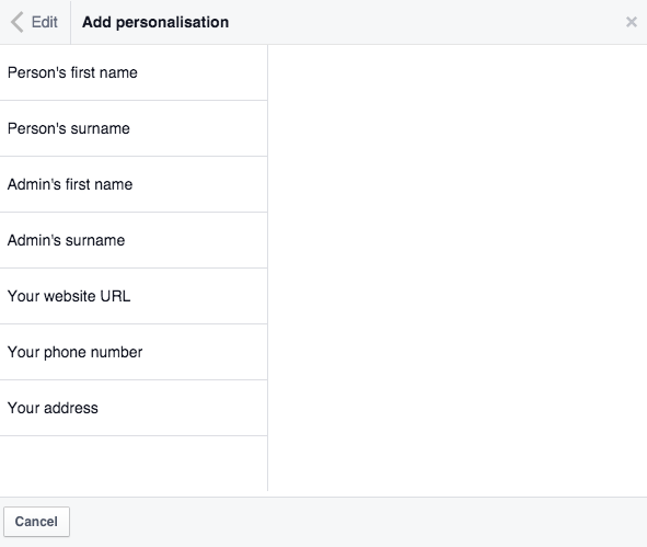 Personalise saved reply on Facebook