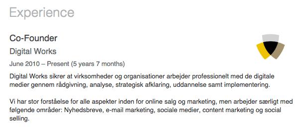 LinkedIn profile tilknyttet virksomhedsside