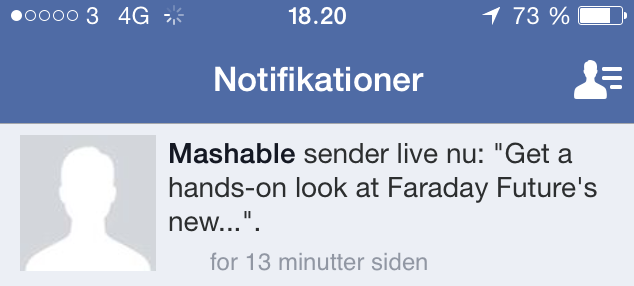 Facebook Live Notifikation