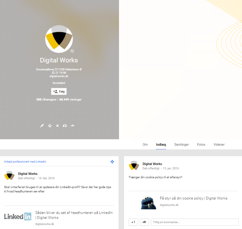 Google+ Virksomhedsside