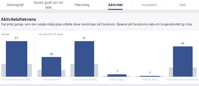 Facebook audience insights - aktivitet