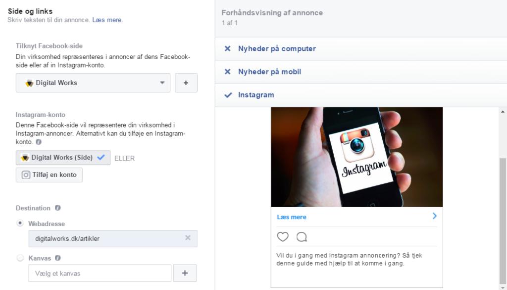 Instagram annoncer - side og links