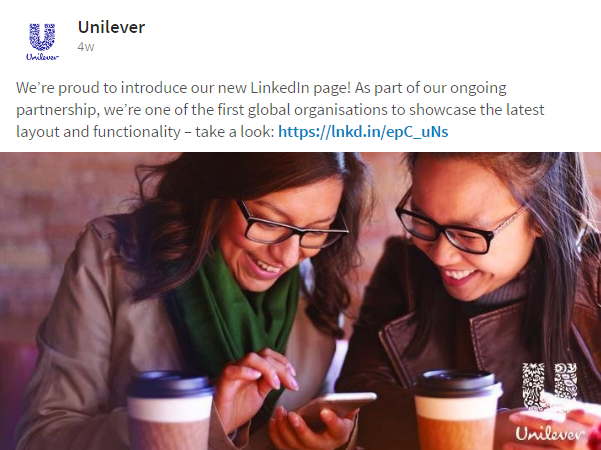Unilevers update omkring ny LinkedIn Company Page