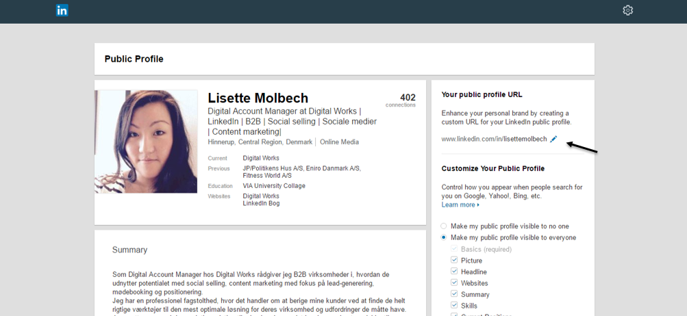 7. linkedin edit your public profile