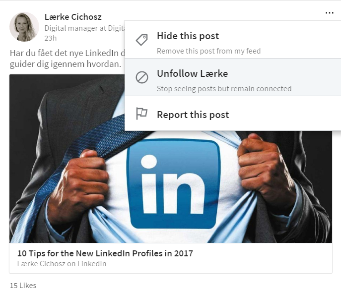 8. unfollow linkedin connection