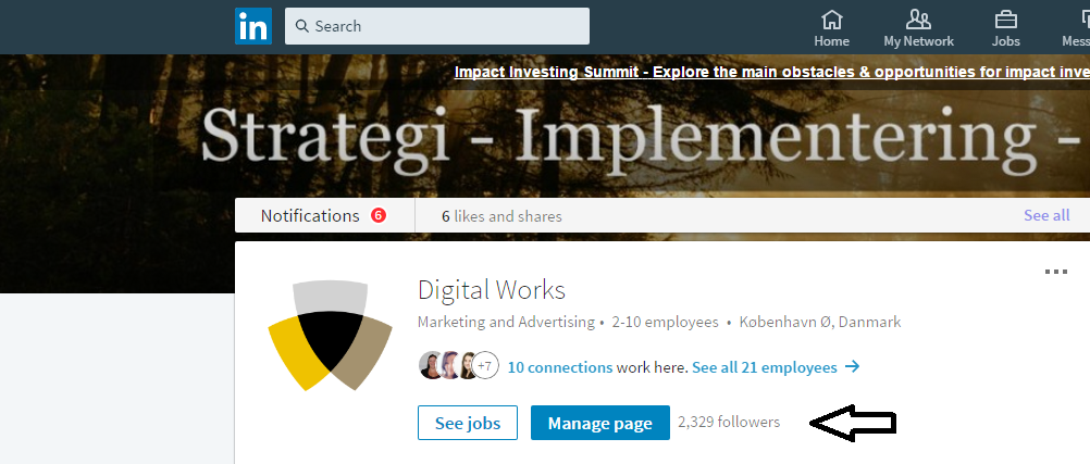 Find antallet af følgere linkedin company page